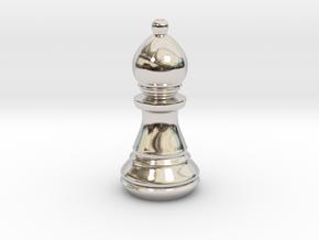 Chess Set Bishop in Rhodium Plated Brass