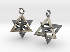 Merkaba 15 Pair in Polished Silver