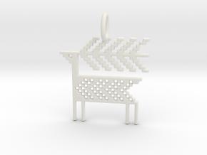 Reindeer Pendant in White Natural Versatile Plastic