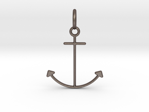 Anchor Pendant in Polished Bronzed Silver Steel