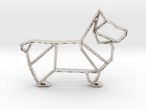Origami Dog Pendant No.1  in Rhodium Plated Brass