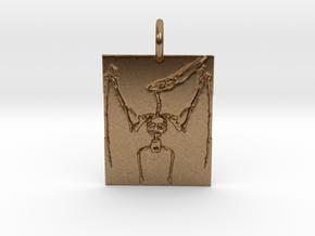 Pterodactyl Skeleton Pendant in Natural Brass