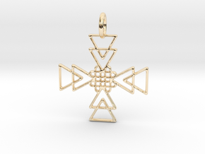 Squares Pendant No.2 in 14k Gold Plated Brass