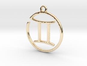 Gemini Zodiac Pendant in 14K Yellow Gold