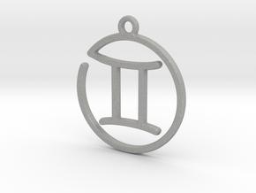 Gemini Zodiac Pendant in Raw Aluminum
