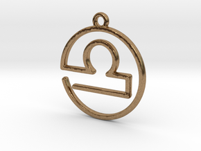 Libra Zodiac Pendant in Natural Brass