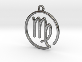 Virgo Zodiac Pendant in Polished Silver
