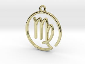 Virgo Zodiac Pendant in 18k Gold Plated Brass