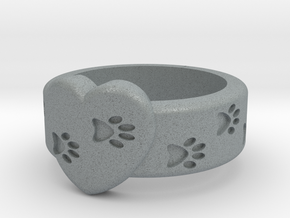 Pawprints On My Heart Ring in Polished Metallic Plastic