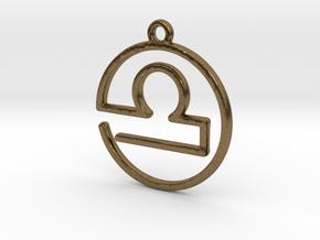 Libra Zodiac Pendant in Natural Bronze