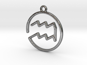 Aquarius Zodiac Pendant in Polished Silver