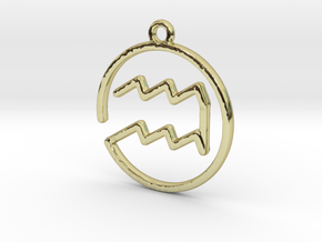 Aquarius Zodiac Pendant in 18k Gold Plated Brass