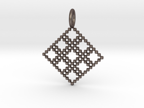 Pendant Square No.4 in Polished Bronzed Silver Steel