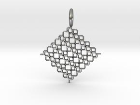 Square Pendant No.5 in Natural Silver
