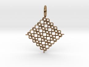 Square Pendant No.5 in Natural Brass