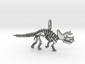 Triceratops Skeleton Pendant in Natural Silver