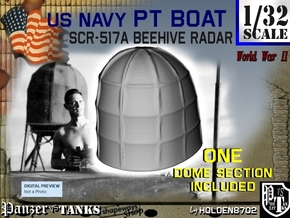 1-32 PT Boat Beehive Radar Dome in White Processed Versatile Plastic