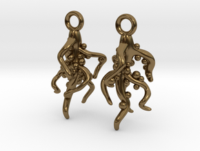 Nodulated Root Earrings - Science Jewelry in Polished Bronze