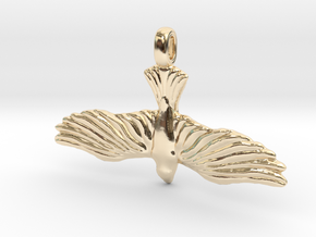 DOVE Symbol Jewelry Pendant in 14K Yellow Gold
