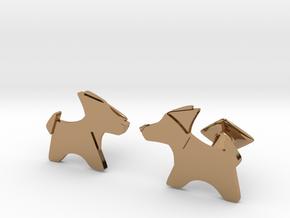 Origami Wet folded dog cufflink in Polished Brass