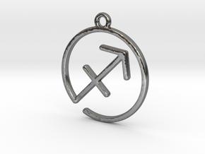 Sagittarius Zodiac Pendant in Polished Silver