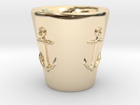 Nautical Anchor Shot Glass in 14K Yellow Gold