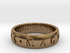 Size 10 Sir Francis Drake, Sic Parvis Magna Ring  in Natural Brass