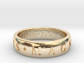 Size 10 Sir Francis Drake, Sic Parvis Magna Ring  in 14k Gold Plated Brass