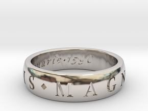 Size 10 Sir Francis Drake, Sic Parvis Magna Ring  in Rhodium Plated Brass