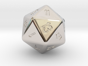 Jumbo 20 Sided Die in Rhodium Plated Brass