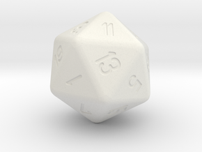 Jumbo 20 Sided Die in White Natural Versatile Plastic