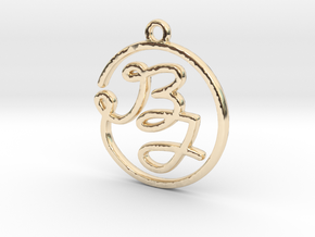 B & J Script Monogram Pendant in 14k Gold Plated Brass