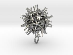 Radiolarian protozoa pendant in Natural Silver
