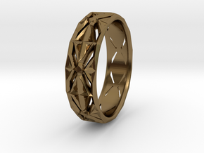 Cut Facets Ring Sz. 4.5 in Polished Bronze
