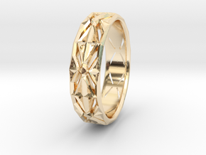 Cut Facets Ring Sz. 5.5 in 14k Gold Plated Brass