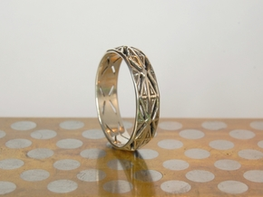 Cut Facets Ring Sz. 6.5 in Polished Silver