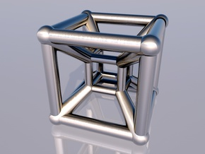 Tesseract Pendant 2 in Polished Silver