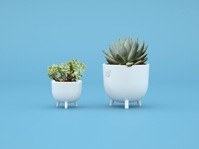 Perch Pot - Small in Gloss White Porcelain