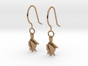 Turtle Heart Earrings in Polished Brass