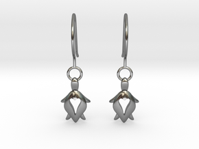 Holy Turtle Heart Earrings in Polished Silver