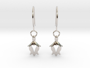 Holy Turtle Heart Earrings in Rhodium Plated Brass