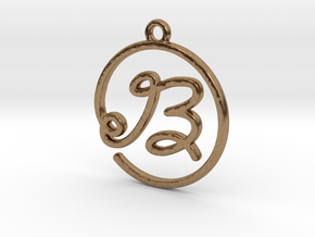 B Script Monogram Pendant in Raw Brass