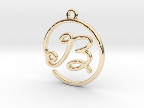 B Script Monogram Pendant in 14k Gold Plated Brass