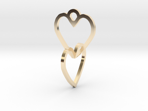 Connected heart of the ring in 14k Gold Plated Brass
