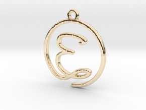 E Script Monogram Pendant in 14k Gold Plated Brass