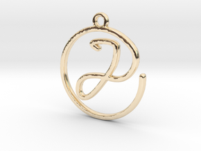 J Script Monogram Pendant in 14k Gold Plated Brass
