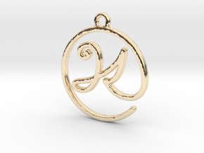 K Script Monogram Pendant in 14k Gold Plated Brass