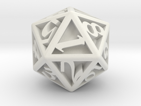 D20, Engraved  in White Natural Versatile Plastic