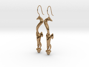 Squirrely Earrings in Polished Brass