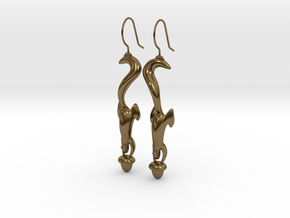 Squirrely Earrings in Polished Bronze